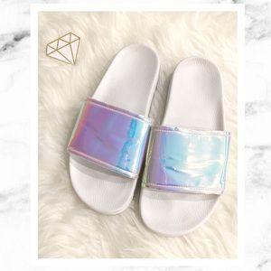 Iridescent & White Slides / Sandals